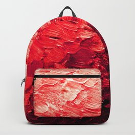 MERMAID SCALES 4 Red Vibrant Ocean Waves Splash Crimson Strawberry Summer Ombre Abstract Painting Backpack