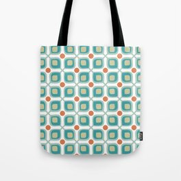 Abstract Flower Pattern Mid Century Modern Retro Turquoise Orange Tote Bag
