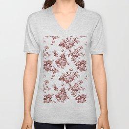 Shabby vintage coral burgundy brown roses floral Unisex V-Neck