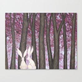 spring blossom bunnies Canvas Print