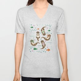 Kawaii Otters Playing Underwater Unisex V-Neck