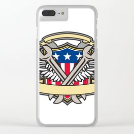 Crossed Wrench Army Wings American Flag Shield Clear iPhone Case