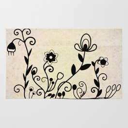 Flowers on old paper Rug