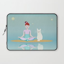 Little girl in lotus pose and white cat Laptop Sleeve