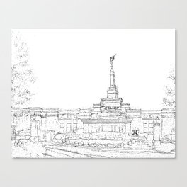 Reno Nevada LDS Temple Sketch Canvas Print