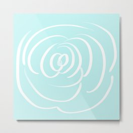 Fresh Aqua and White Rose Design Metal Print