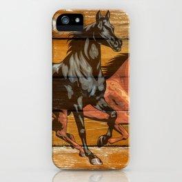Horses Horseshoes Barn Wood Cowboy iPhone Case