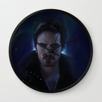 captain hook Wall Clocks featuring Hook by LindaMarieAnson