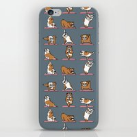 english bulldog iPhone & iPod Skins featuring English Bulldog Yoga by Huebucket