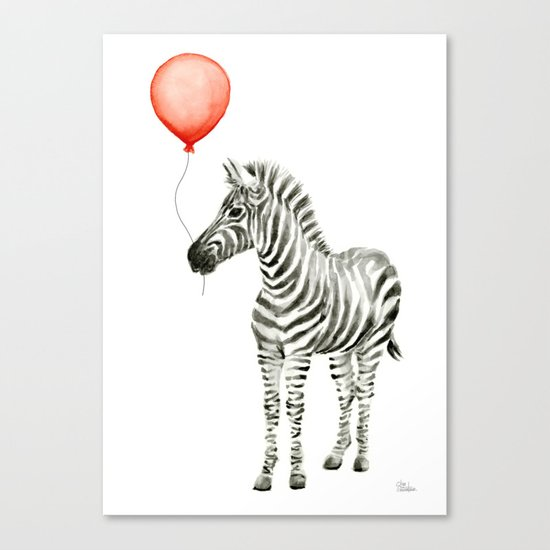 Baby Zebra Whimsical Animal with Red Balloon Nursery Art Canvas Print