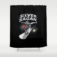 sagan Shower Curtains featuring Silver Sagan by The Cracked Dispensary