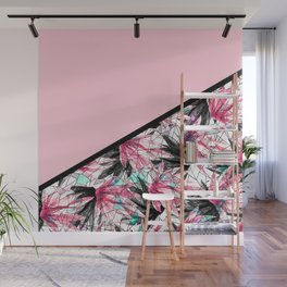 Blush Pink and Teal Abstract Tropical Leaves Wall Mural
