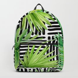 Tropical Leaves Watercolor on Black and White Pattern Backpack