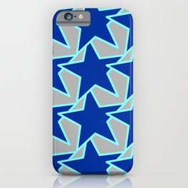 Modern Star Geometric Cobalt Blue and Gray iPhone Case
