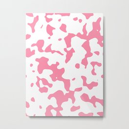 Large Spots - White and Flamingo Pink Metal Print