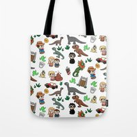 jurassic park Tote Bags featuring Jurassic Park Bits by Lacey Simpson