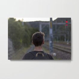 Walking the tracks Metal Print