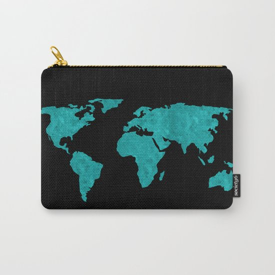 Teal Cyan Metallic Foil Map on Black Carry-All Pouch