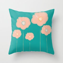 Poppies - pink and teal Throw Pillow