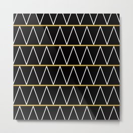 Black and gold zigzag Metal Print