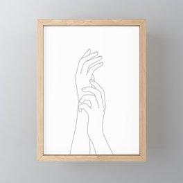 Minimal Line Art Feminine Hands Framed Mini Art Print