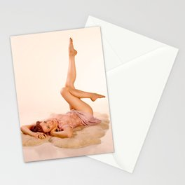 """Kicking Back"" - The Playful Pinup - Sexy Pin-up Girl on Fur Rug by Maxwell H. Johnson Stationery Cards"
