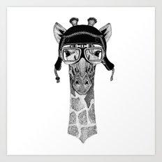 Giraffe Helmet Art Print