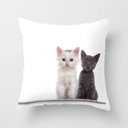 Computer Tech Savy Kittens Throw Pillow