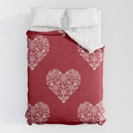 Red Heart Lace Flowers Comforters