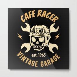 Cafe Racer Motorcycle Workshop Mechanic Metal Print