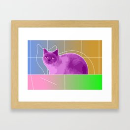 Neon Purple Cat on Colorful Background Framed Art Print