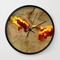 Michelangelo hands. Pixelation Wall Clock