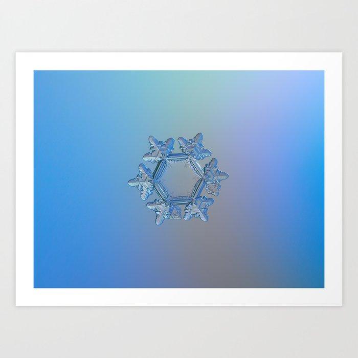 Real snowflake macro photo: Sunflower Art Print