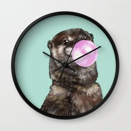 Otter with Bubble Gum Wall Clock