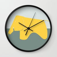 eames Wall Clocks featuring Eames Elephant by Ruby