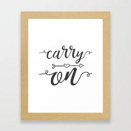 Carry On Calligraphy Arrowheart Framed Art Print
