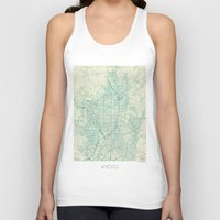 vintage map Tank Tops featuring Kyoto Map Blue Vintage by City Art Posters