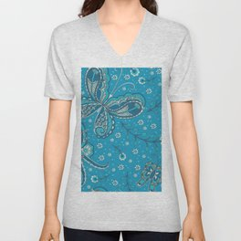 Blue and Aqua Paisley Butterfly - Jezli Pacheco Unisex V-Neck