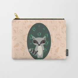 Raccoon with Paw Prints Carry-All Pouch