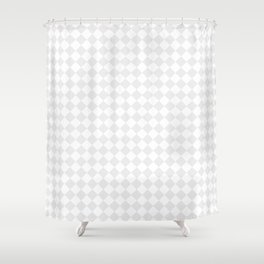 Small Diamonds - White and Pale Gray Shower Curtain