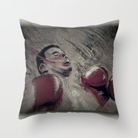 boxing Throw Pillows featuring boxing by aaron ebanks