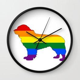 Rainbow Newfoundland Dog Wall Clock