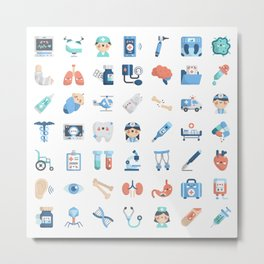 CUTE MEDICINE / SCIENCE / DOCTOR PATTERN Metal Print