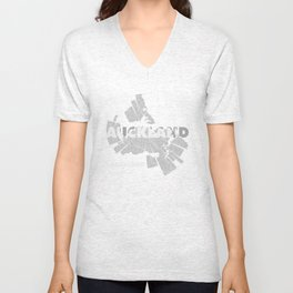 Auckland Map Unisex V-Neck