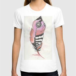 Pink and Orange Feather T-shirt