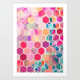 Rainbow Honeycomb - colorful hexagon pattern Art Print