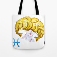 pisces Tote Bags featuring Pisces by Aloke Design