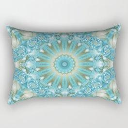 Turquoise and Gold Mandala Tile Rectangular Pillow