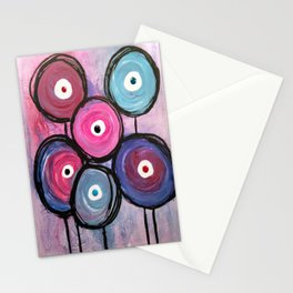 Abstract Circle Flowers Stationery Cards
