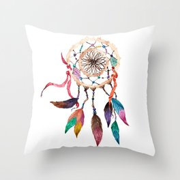 Native American Boho Vibrant Watercolor Beaded Dreamcatcher Throw Pillow
